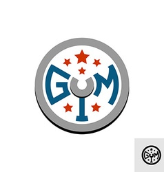 Gym logo template Barbell weight disk concept vector image