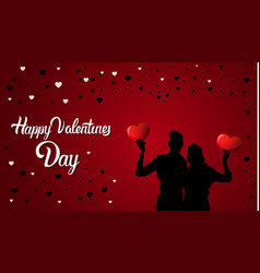 happy valentines day background silhouette couple vector image vector image