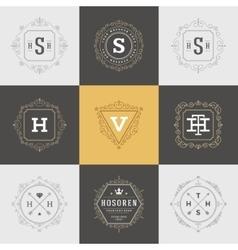 Set Luxury Logos template flourishes calligraphic vector image