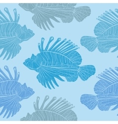 Venomous marine fish seamless pattern vector