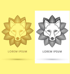 white wolf fox head face vector image