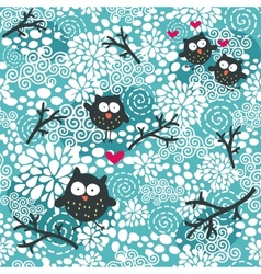 Winter seamless pattern with owls and snow vector image vector image
