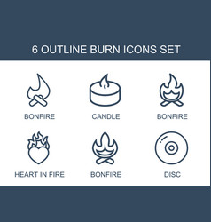 6 burn icons vector