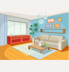 A cozy cartoon interior of vector