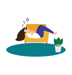 A girl laying on sofa listening music vector