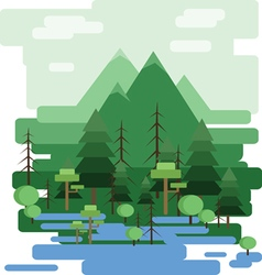 Abstract landscape design with green trees and clo vector image
