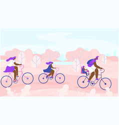 Afro-american family cycling through city park vector