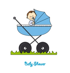 Baby boy in carriage vector
