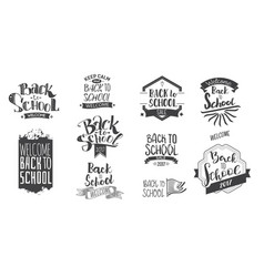 back to school monohrom labels vector image
