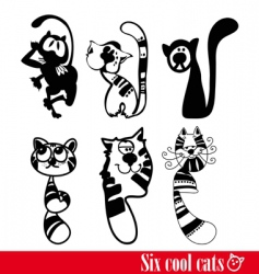 band of six flunkey cats vector image