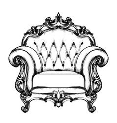 Baroque furniture rich armchair royal style vector