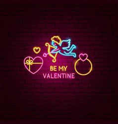 be my valentine neon label vector image