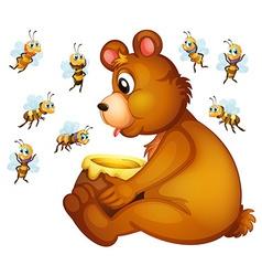 Bear and bees vector image