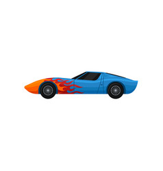 Blue racing car with red-orange flame decal cool vector
