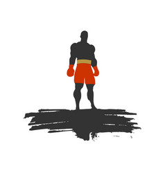 boxer silhouette sportsman posing vector image