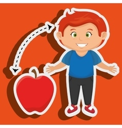 Boy cartoon fruit apple red vector