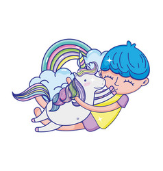 boy hugging unicorn with rainbow and clouds vector image