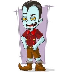 Cartoon vampire kid in red shirt vector