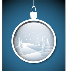 Christmas bauble with snowy landscape vector