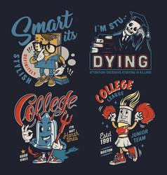 College colorful vintage badges vector