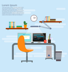 concept for programmer working place programmer vector image
