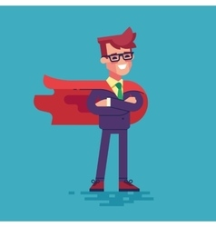 Confident businessman in suit superhero vector image