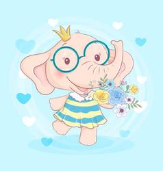 cute cartoon elephant girl in a wreath flowers vector image