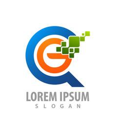 digital circle pixel initial letter g logo vector image