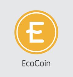 Ecocoin virtual currency eco logo vector