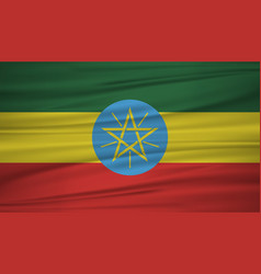 ethiopia flag flag of ethiopia blowig in the vector image