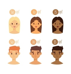 Faces with skin tone spf vector