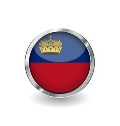 Flag liechtenstein button with metal frame and vector