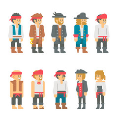 flat design pirate characters set vector image