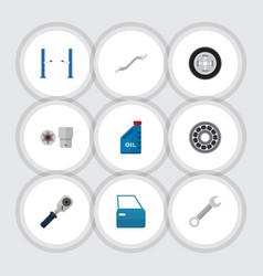 flat icon auto set of petrol turnscrew ratchet vector image
