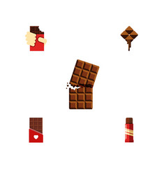 Flat icon chocolate set of sweet chocolate vector