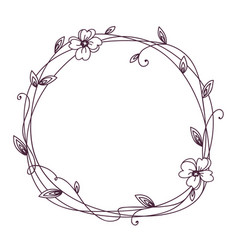 floral frame wreath with stylized leaves vector image