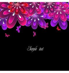 Flower pink on black background vector image