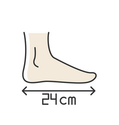 Foot length rgb color icon human body parameters vector