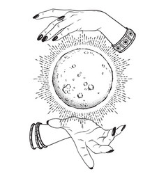Full moon in hands fortune teller vector