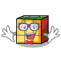 geek rubik cube character cartoon vector image