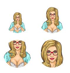 Girl showing breast in bra pop art avatars vector