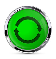 Green push button with refresh sign round web vector