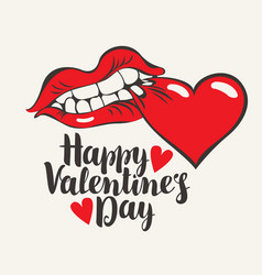 greeting card with lettering happy valentines day vector image