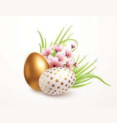 Happy easter greeting background with realistic vector