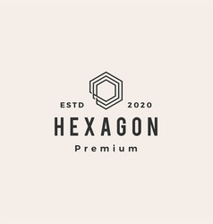 hexagon line outline hipster vintage logo icon vector image