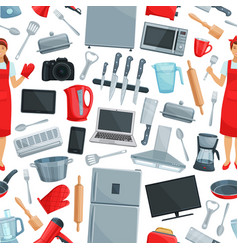 home appliance and kitchenware seamless pattern vector image