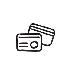Identification card sketch icon vector
