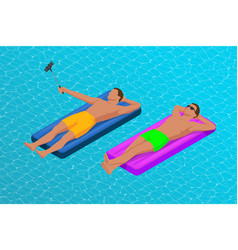 Inflatable ring and mattress young men on air vector