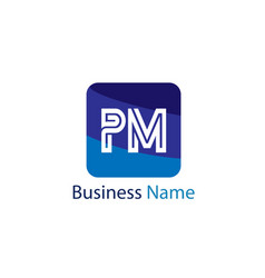 initial letter pm logo template design vector image
