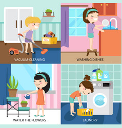 Kids cleaning 2x2 design concept vector